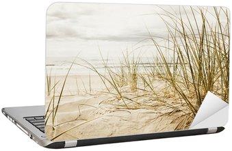Nálepka na Notebook Zblízka vysoké trávě na pláži během zatažené sezóny