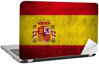 Nálepka na Notebook Zvětralý pod vlajkou Španělska, textilie texturou