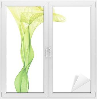 Nálepka na Sklo a Okna Abstrakt liight zelený vektor vertikální vlna pozadí linky