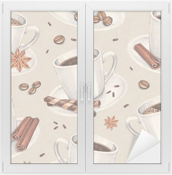 Nálepka na Sklo a Okna Akvarel ilustrace šálek kávy. Bezešvé vzor