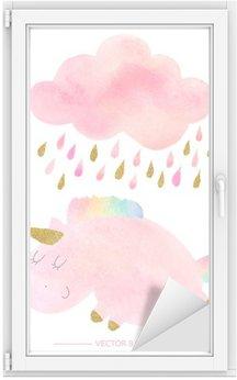 Nálepka na Sklo a Okna Akvarel jednorožec a mrak s deštěm
