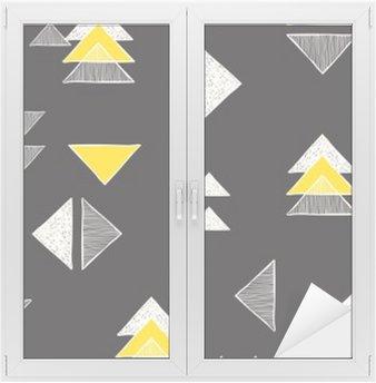 Nálepka na Sklo a Okna Bezešvé ručně kreslených trojúhelníky vzorem.