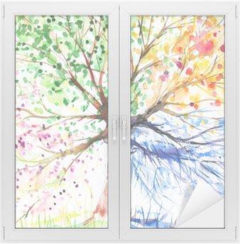 Nálepka na Sklo a Okna Čtyři sezóny strom