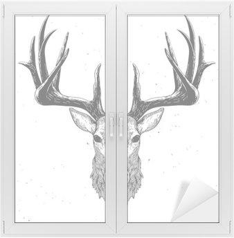 Nálepka na Sklo a Okna Jelení hlava na bílém