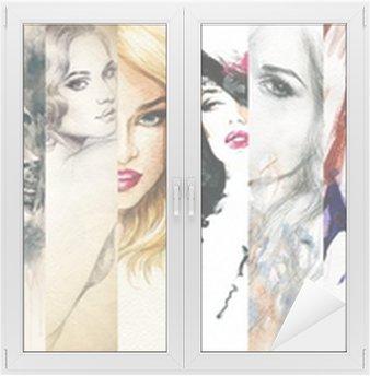 Nálepka na Sklo a Okna Krásná ženská tvář. akvarel ilustrace