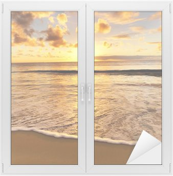 Nálepka na Sklo a Okna Krásný západ slunce na pláži