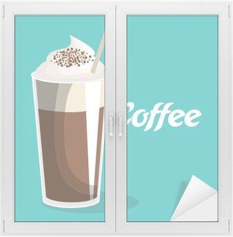 Nálepka na Sklo a Okna Lahodné kávy ledový nápoj vektorové ilustrace designu