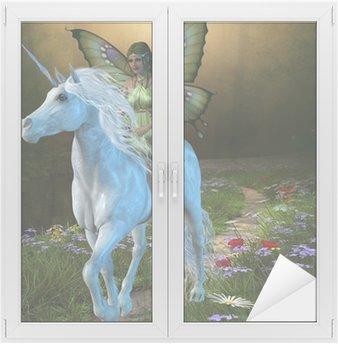 Nálepka na Sklo a Okna Lesní víla a Unicorn