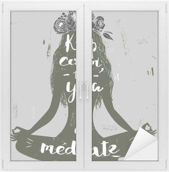 Nálepka na Sklo a Okna Letní dívka v lotosu představují