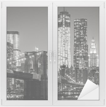 Nálepka na Sklo a Okna New York v noci. Brooklynský most, Dolní Manhattan - Black