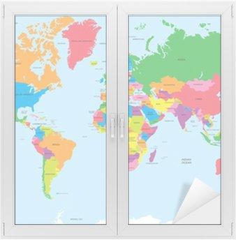 Nálepka na Sklo a Okna Politická mapa světa vektoru