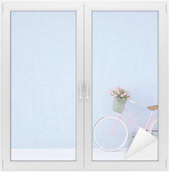 Nálepka na Sklo a Okna Retro vintage kolo staré a modrá zeď. 3d rendering