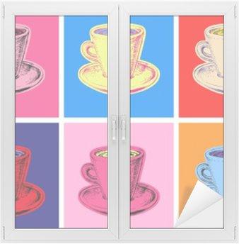 Nálepka na Sklo a Okna Sada hrnek na kávu vektorové ilustrace stylu pop art
