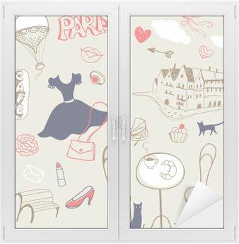 Nálepka na Sklo a Okna Sada kreslené ručně symboly Paříži