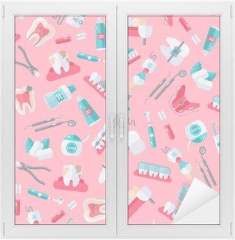 Nálepka na Sklo a Okna Seamless Zubař vzor na růžovém pozadí