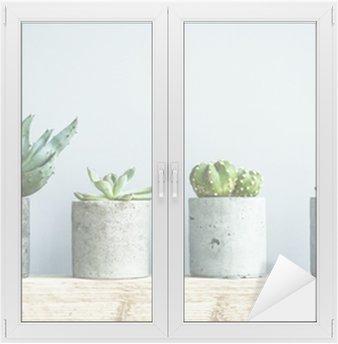 Nálepka na Sklo a Okna Sukulenty v DIY betonu hrnci. Skandinávský interiér pokoje výzdoba