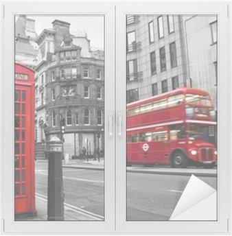 Nálepka na Sklo a Okna Telefonní budka a červené autobusy v Londýně (UK)