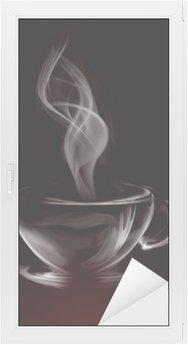 Nálepka na Sklo a Okna Umělecké Ilustrace Smoke šálek kávy na černé