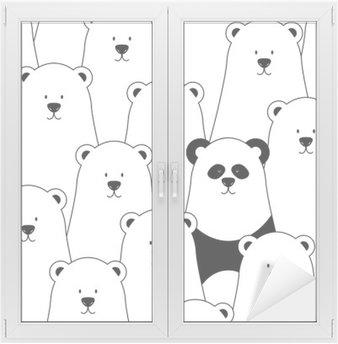 Nálepka na Sklo a Okna Vektorové bezešvé vzor s bílými lední medvědi a Panda