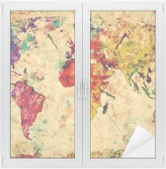 Nálepka na Sklo a Okna Vintage mapa světa. Barevný barva, akvarel na papíře grunge