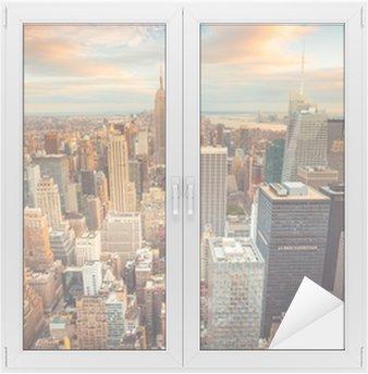 Nálepka na Sklo a Okna Západ slunce pohled na New York City při pohledu na Manhattanu