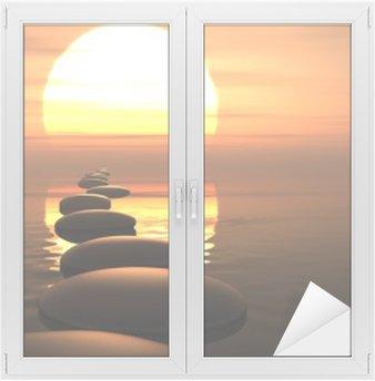 Nálepka na Sklo a Okna Zen cesta kamenů v západu slunce
