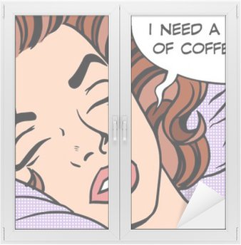 Nálepka na Sklo a Okna Žena sní ranní šálek kávy