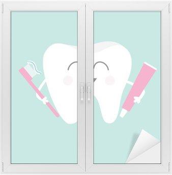 Nálepka na Sklo a Okna Zub drží zubní pastu a kartáček na zuby. Cute funny cartoon úsměvem charakter. Dětské zuby ikona péče. Oral dentální hygieny. Zubní zdraví. Pusinka pozadí. Plochá konstrukce.