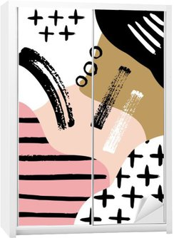 Nálepka na Skříň Abstrakt skandinávský složení v černé, bílé a pastelově růžová.