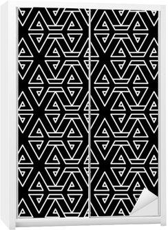 Nálepka na Skříň Abstraktní geometrické černá a bílá bederní módní polštář vzor
