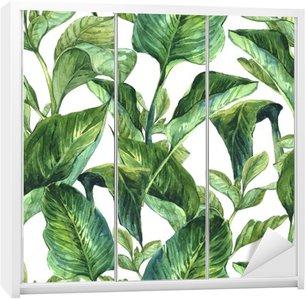 Nálepka na Skříň Akvarel Bezešvé pozadí s tropickým listy