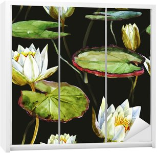 Nálepka na Skříň Akvarel lotus vzor
