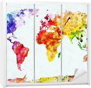 Nálepka na Skříň Akvarel mapa světa