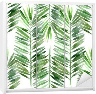 Nálepka na Skříň Akvarel palma list bezešvé