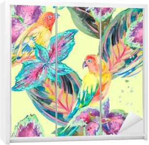 Nálepka na Skříň Akvarel Papoušci .Tropical květiny a listy. Exotický.