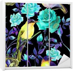 Nálepka na Skříň Akvarel ptáci na modré růže