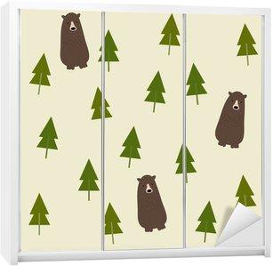 Nálepka na Skříň Bear and forest seamless background.