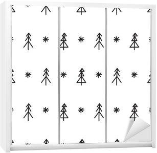 Nálepka na Skříň Bezešvé Vánoční strom vzor