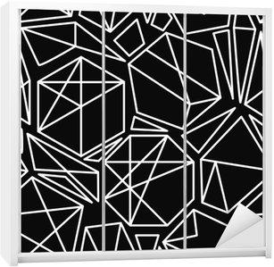 Nálepka na Skříň Černé a bílé vektorové geometrický vzor bezešvé
