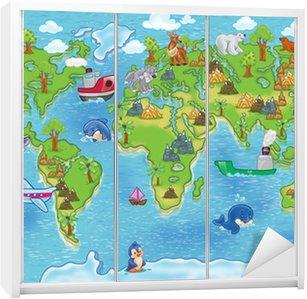 Nálepka na Skříň Děti mapa světa