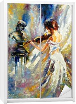 Nálepka na Skříň Dívka hrající na housle