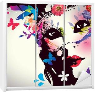 Nálepka na Skříň Dívka s maskou / Vector illustration