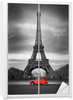 Nálepka na Skříň Eiffelova věž, Paříž červené auto-