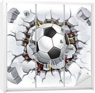 Nálepka na Skříň Fotbalový míč a Old poškození omítka. Vektorové ilustrace