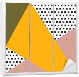 Nálepka na Skříň Geometrické pozadí v retro stylu.