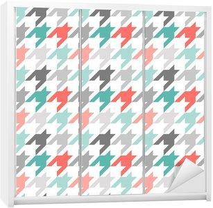 Nálepka na Skříň Houndstooth bezešvé vzor, barevné