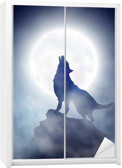Nálepka na Skříň Howling Wolf