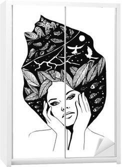 Nálepka na Skříň __illustration, grafický černo-bílé portrét ženy