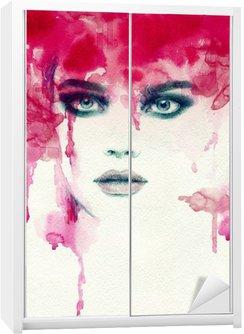 Nálepka na Skříň Krásná žena. akvarel ilustrace