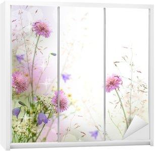Nálepka na Skříň Krásné pastel květinové hranice - rozmazané pozadí